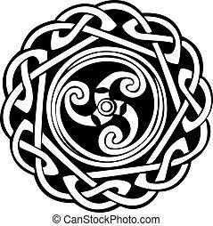 abstraktní, keltský, design