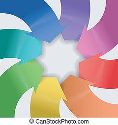 abstraktní, komponování, o, barva, šípi