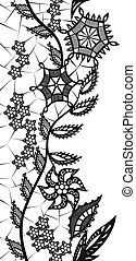 abstraktní, krajka, s, základy, o, květiny, a, list