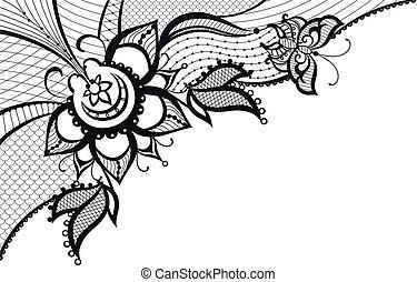 abstraktní, krajka, s, základy, o, motýl, a, květ