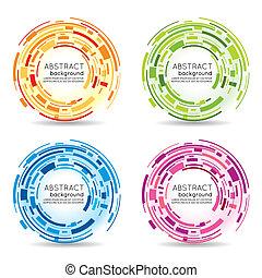 abstraktní, kruh, futuristický