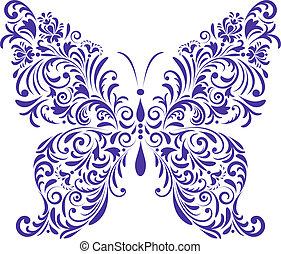 abstraktní, květinový, motýl
