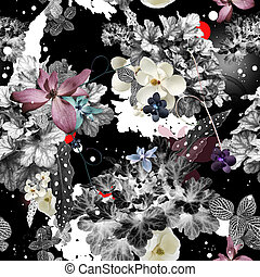 abstraktní, květinový, seamless, charakter konstruovat