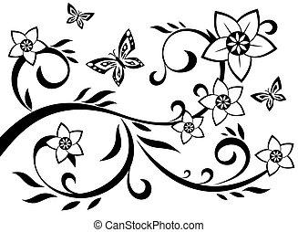 abstraktní, květiny, ilustrace, 10