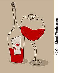 abstraktní, láhev, víno