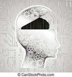 abstraktní, matice, kód, mozek