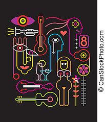 abstraktní, neon, ilustrace