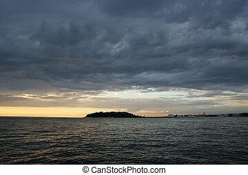 abstraktní, oceán, a, západ slunce, grafické pozadí