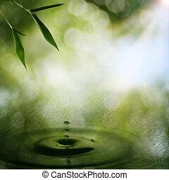 abstraktní, orientální, grafické pozadí, s, bambus, listoví