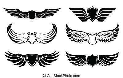 abstraktní, pictograms, dát, opeřit, křídla