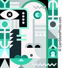 abstraktní, portrét, vektor, ilustrace