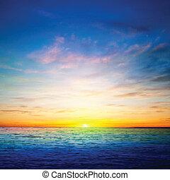 abstraktní, pramen, grafické pozadí, s, oceán, východ slunce