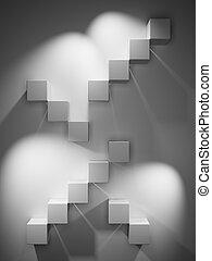 abstraktní, schody, od, ta, trojmocnina