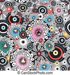 abstraktní, seamless, grafický, květinový