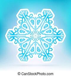 abstraktní, sněhová vločka, znak, s, led, oplzlý grafické pozadí, sklon