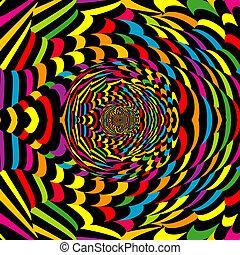 abstraktní, spirála, barvitý