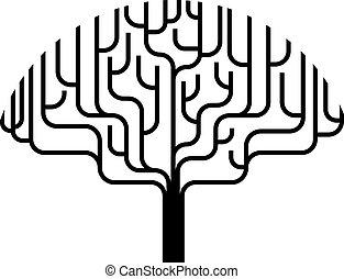 abstraktní, strom, silueta, ilustrace