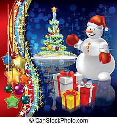 abstraktní, strom, vánoce, grafické pozadí