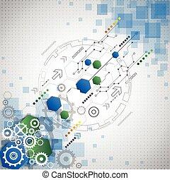 abstraktní, technika, povolání, grafické pozadí, vektor, ilustrace