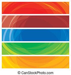 abstraktní, umělecký, barvitý, vybírání, o, prapor, templates-, vektor, graphic., tato, ilustrace, spočívat, o, výprask, o, barvitý, website, a, věnování, záhlaví