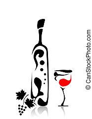 abstraktní, víno sklenice