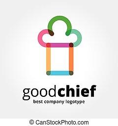 abstraktní, vektor, šéf, číše, logotype, pojem, osamocený, oproti neposkvrněný, grafické pozadí., klapka, pojem, is, povolání, caffe, cookng, strava, restaurace, eating., pojem, jako, korporační totonost, a, značkovat