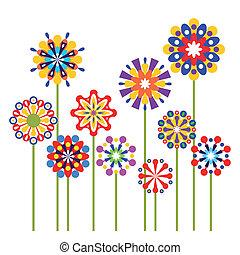 abstraktní, vektor, květiny, barvitý