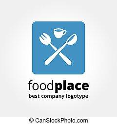 abstraktní, vektor, logotype, jako, restaurace, pojem, osamocený, oproti neposkvrněný, background.key, pojem, is, povolání, caffe, cookng, strava, restaurace, eating., pojem, jako, korporační totonost, a, značkovat