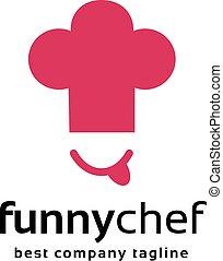 abstraktní, vrchní kuchař, čelit, s, číše, vektor, emblém, ikona, concept., dobro, což, logotype, šablona, jako, značkovat, a, korporační navrhovat