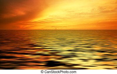 abstraktní, západ slunce oceán