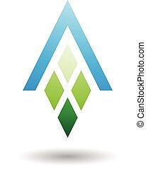 abstraktní, znak, o, dopisy a, s, diamant, uformovaný, pravoúhelník