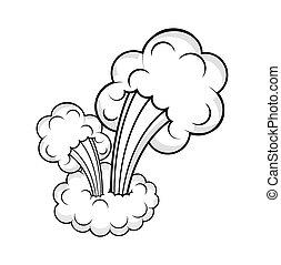 abstrat, desenho, nuvem, estouro