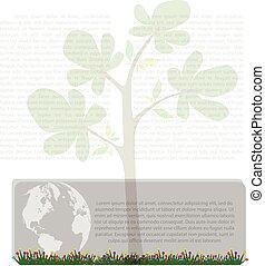 abstrato verde, árvore, fundo