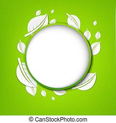 abstrato verde, bandeira, folhas