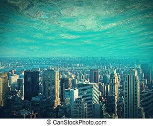 abstratos, água, cidade, fundo