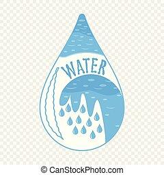 abstratos, água, vetorial, desenho, ícone, logo., element.