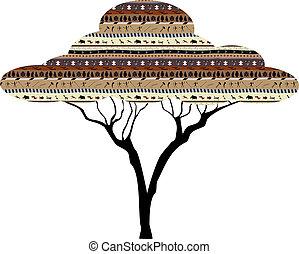 abstratos, árvore, africano, savanna