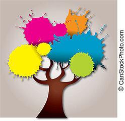 abstratos, árvore, coloridos