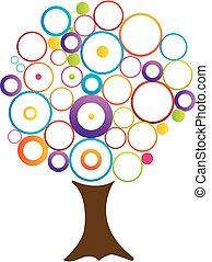abstratos, árvore, com, círculos