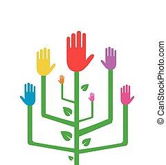 abstratos, árvore, com, coloridos, mãos