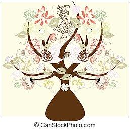 abstratos, árvore, com, flores, símbolo, de, natureza