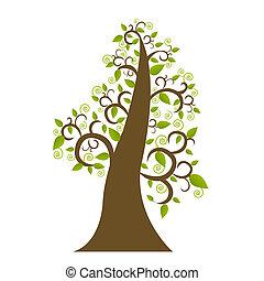 abstratos, árvore, com, folha