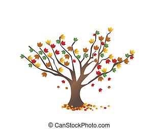 abstratos, árvore, com, outono sai