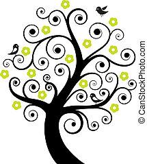 abstratos, árvore, com, pássaros