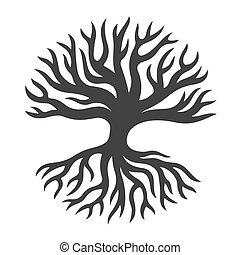 abstratos, árvore, com, raizes