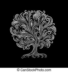 abstratos, árvore, com, raizes, para, seu, desenho