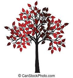 abstratos, árvore, com, vermelho sai