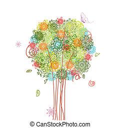 abstratos, árvore, desenho, com, arabesques
