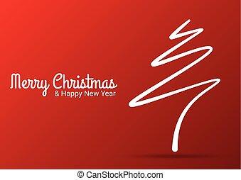 abstratos, árvore, feliz, linha, natal, vermelho
