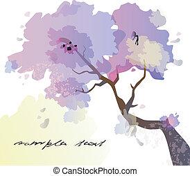 abstratos, árvore, florescer